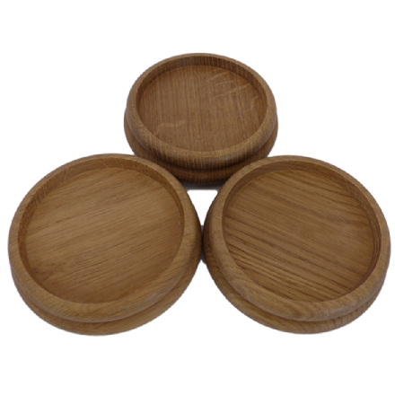 Castor Cups Solid Oak Medium - Set of 3